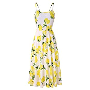 CHBORCHICEN Women's Summer Backless Shoulder Straps Adjustable Casual Floral Printed Flared Swing midi Dresses