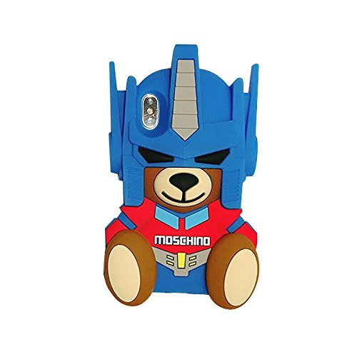 Teddy Bear Silicone - Ultra Thick Soft Silicone Transformers Teddy Bear Case for iPhone X iPhoneX 3D Cartoon Robot Brown Blue Color Cool Fun Luxury Brand Shockproof Drop Resistant Protective Gift Kids Boys Teens Guys Men
