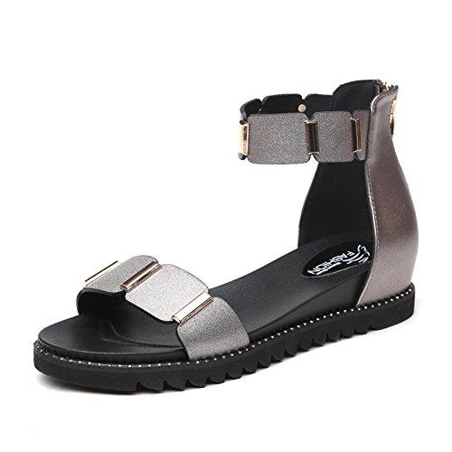 5 talon Chaussures UK3 Blanc Simples Argent Femme Bas EU36 Couleur QIDI Silver Silver taille Sandales Saison D'été wTCxBZ0q