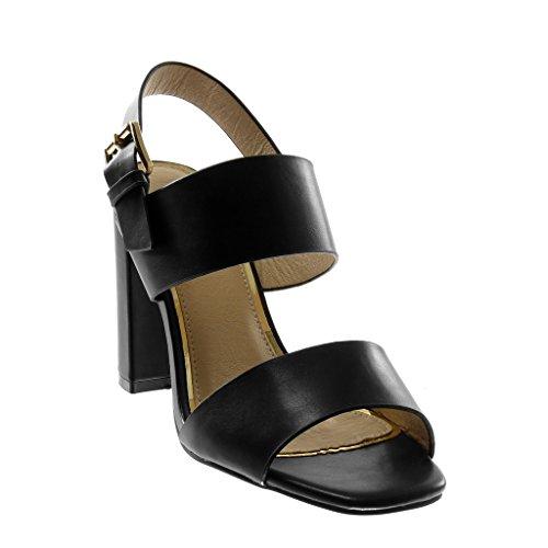 Patentes Tacón de 10 Alto Moda escarpín 2 Negro Zapatillas Tobillo Sandalias Tacón Correa Tanga Angkorly Ancho Brillantes cm Mujer 5 CxqwcvtYcW