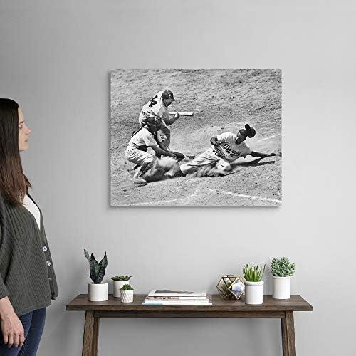 Jackie Robinson of The Brooklyn Dodgers Canvas Wall Art Print