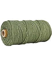 YOURPAI macrame koord, wit katoenen touw DIY handgeweven katoenen touw gebundeld Zongzi touw muur opknoping touw kleurrijke katoenen touw groen