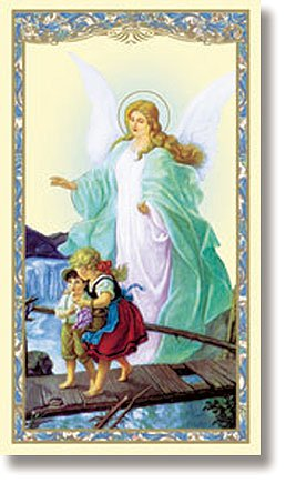 Guardian Angel Holy Card (Guardian Angel with Children on Bridge Laminated Holy Card New)