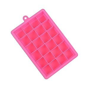 OUNONA Stampo per Cubetti di Ghiaccio in Silicone Vaschette da 24 Cubetti Rosa 1 spesavip