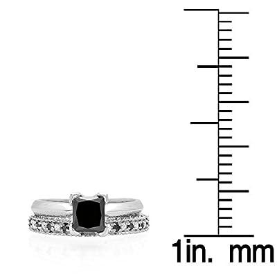 1.50 Carat (ctw) 14K Gold Princess Cut Black & Round White Diamond Bridal Engagement Ring Set 1 1/2 CT