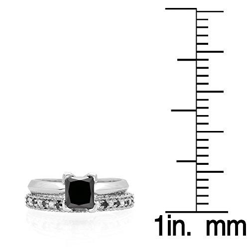 150-Carat-ctw-14K-Gold-Princess-Cut-Black-Round-White-Diamond-Bridal-Engagement-Ring-Set-1-12-CT
