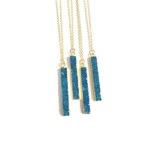 (Turquoise Druzy Necklace, Druzy Bar Necklace, Druzy Jewelry, 14kt Gold Filled Crystal Necklace, Bridesmaid Gift)