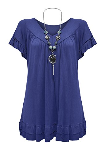 womens-plus-size-frill-necklace-gypsy-tunic-v-neck-top-us-6-20