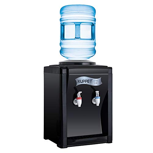 (KUPPET 3-5 Gallon Countertop Water Cooler Dispenser-Hot & Cold Water, ideal For Home Office Use(17'', Black))