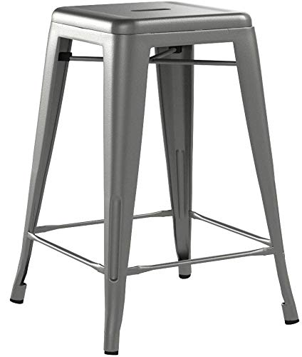 Buschman Set of Four Dark Gun Metal Dark Grey 24 Inches Counter Height Tolix-Style Metal Bar Stools review