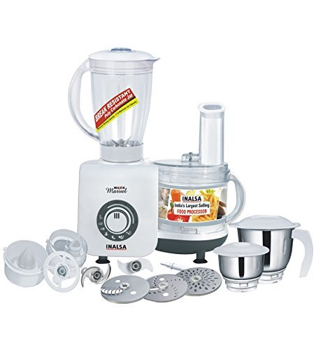 Inalsa Maxie Marvel 800-Watt Food Processor (White/Grey)