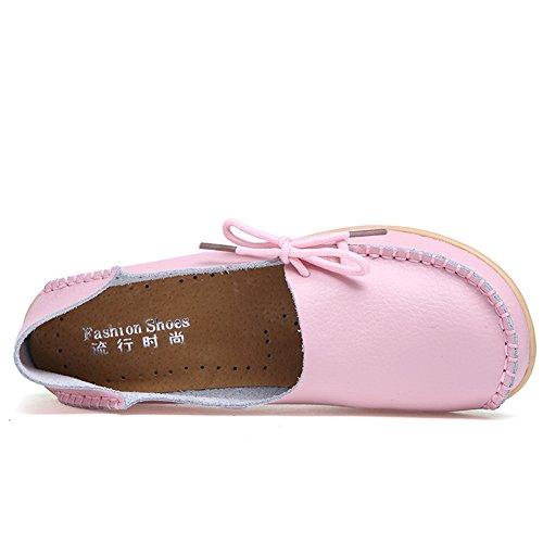Cior Mocassins En Cuir Véritable Mocassins Occasionnels Chaussures De Conduite Intérieur Pantoufles Plates Slip-on Rose