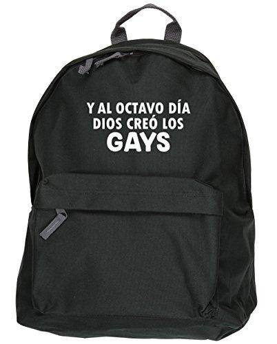 HippoWarehouse Y Al Octavo Día Dios Creó Los Gays kit mochila Dimensiones: 31 x 42 x 21 cm Capacidad: 18 litros Negro