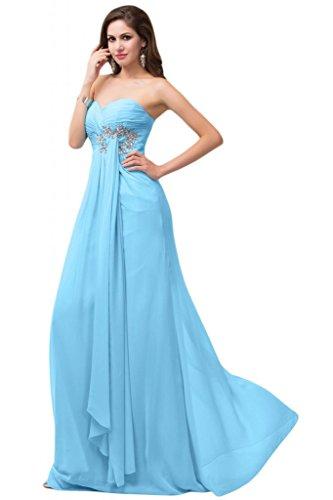 Sunvary-Sweetheart Chiffon Prom Bridesmiad increspata-Cartamodello per abiti da donna Blu 52