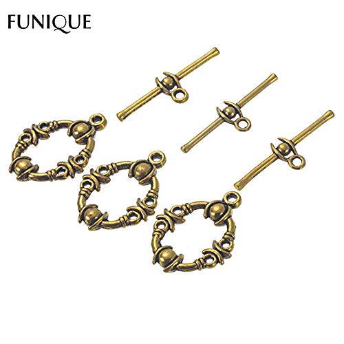 sps Findings 25Sets Ancient Gold Color Toggle Clasps Floral Zinc Alloy Clasps Hooks For Jewelry Making 21x17mm ()
