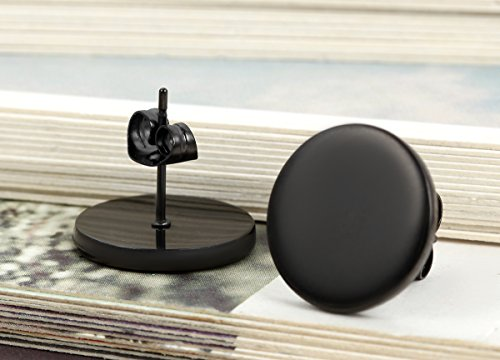 Flongo Men's Women's 14mm Round Stainless Steel Black Tunnel illusion Tapers Cheater Faux Fake Stud Earrings by Flongo (Image #2)