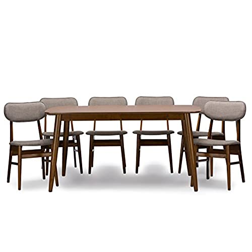 Baxton Studio 7 Piece Sacramento Mid Century Dining Set, Dark Walnut