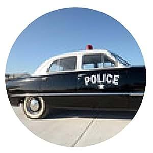 alfombrilla de ratón coche de policía retro - ronda - 20cm