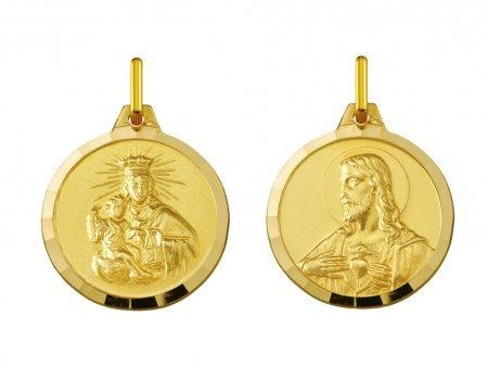 CARMEL - SACRE COEUR - Médaille Scapulaire - Or 9 carats - Hauteur: 14 mm - www.diamants-perles.com