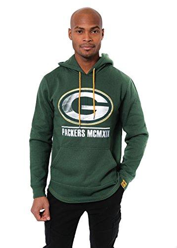 Icer Brands NFL Green Bay Packers Men's Fleece Hoodie Pullover Sweatshirt Embroidered, Medium, Green