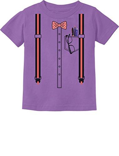 Geeky Halloween Costumes For Babies (Halloween Nerd Suspenders Bowtie Geek Easy Costume Infant Kids T-Shirt 24M Lavender)