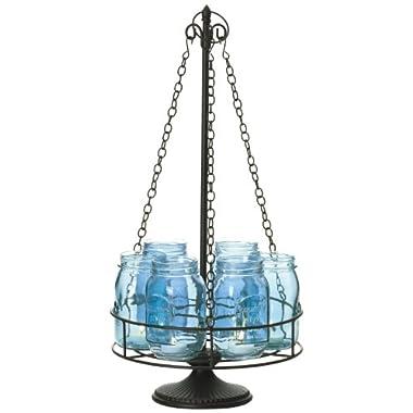 Pfaltzgraff 6-Light Mason Jar Chandelier Centerpiece (23-Inch, Aqua)