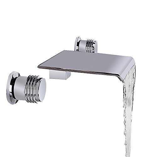 JinYuZe Waterfall Bathroom Vanity Vessel Sink Faucet Solid Brass Double Handle Wall Mounted Faucet Widespread,Chrome