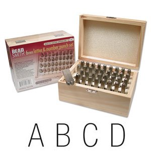 Stamp Font (Beadaholique Beadsmith 36-Piece Letter and Number Punch Set with Wooden Case for Stamping Metal)