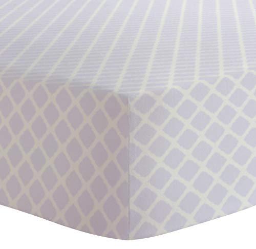 Kushies Girl - Kushies Baby Fitted Crib Sheet, Lilac Lattice