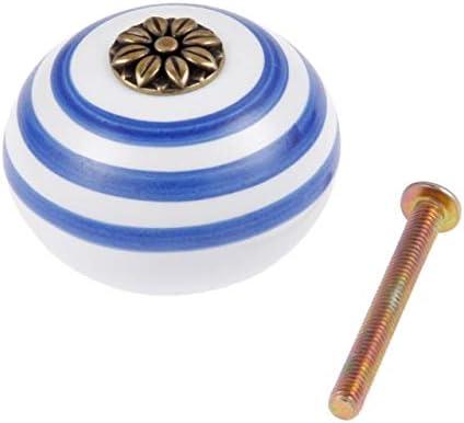 BOJI 1Pc Ceramic Dresser Knobs White Blue Cabinet Pulls Knobs Round Unique Wardrobe Kitchen Door Pull Handle Knob Furniture Hardware Color : F
