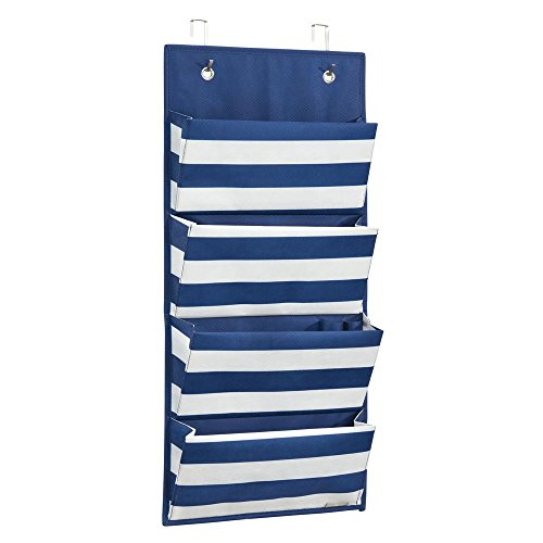 InterDesign ID jr Fabric Over Door Hanging Storage Organizer for Childrens Clothing, Blankets, Toys, Bedding, Toiletries, Accessories - 4 Pocket, Navy/White