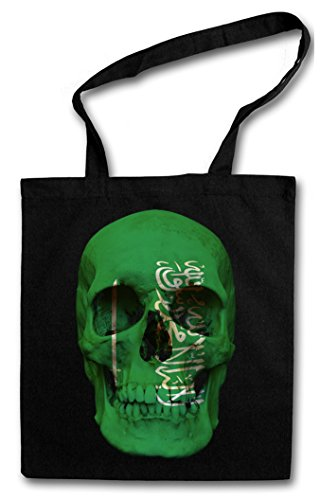 CLASSIC SAUDI ARABIA SKULL FLAG Hipster Shopping Cotton Bag Cestas Bolsos Bolsas de la compra reutilizables - Bandera cráneo Schädel Banner Fahne Arabien Arabia Saudita