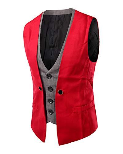 Manche Casual Homme Mariage Pour Costume Rouge Business Gilet De Sans Veste Ixq7P1wz1
