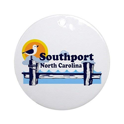 Christmas Ornaments Southport Nc Round Ornament Crafts Xmas Gift Tree Decorative - 3 inch ()