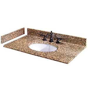Pegasus PE25649 25-Inch Montesol Granite Vanity Top with White Bowl and 8-Inch Spread
