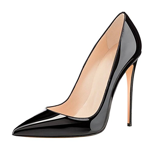 Pumps Toe Pointed High Slip Black on Stilettos Dress Wedding Plus Heels Women Size UMEXI Shoes Party ESqnx6H