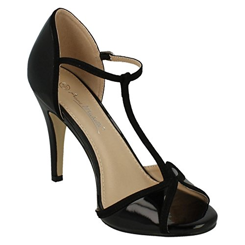 Anne Michelle Ladies T-Bar Sandals Black jo36gwt