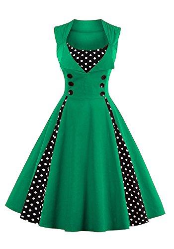 42 Mosaico Maniche Donne Green Senza In 4xl Swing Vestito Botomi Stampa Pois Stile A Classico vYbygf67
