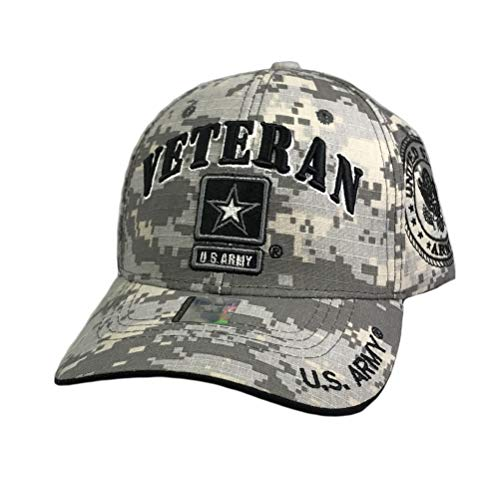 Prfcto Lifestyle US Army Veteran Baseball Hat - Licensed Military Baseball Cap for Veterans, Retired, and Active Duty (Digital Camo)