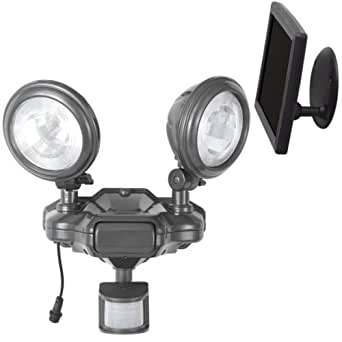 Westinghouse 481631  Solar System Pir Floodlight,  2 Round Heads, Ashen Pewter