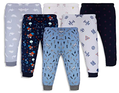 minicult Cotton Baby Pajama Pants Unisex with Rib (12-18 Months)(Pack of 6)(Assorted Prints Will be Sent)