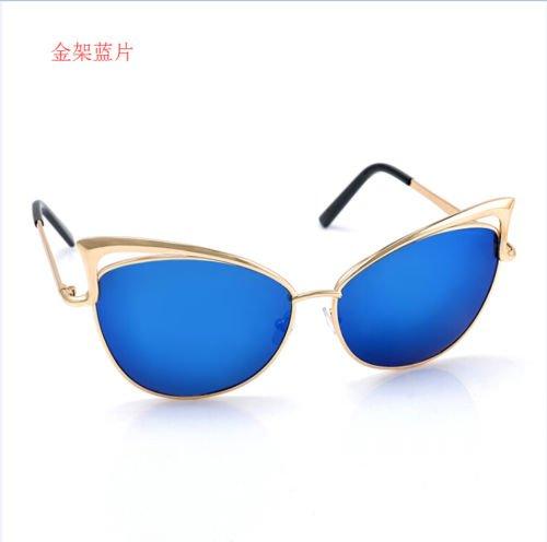 XENO-Women's Gold Retro Cat Eye Sunglasses Classic Designer Vintage Fashion - Gold Sunglasses Cartier