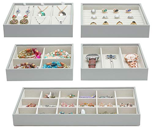 Magic Stackable Jewelry Trays Closet Dresser Drawer Organizer for Accessories, Gadgets & Cosmetics, Storage Display Showcase Holder Box, Set of 5 -