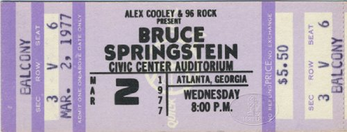 Bruce Springsteen 1977 Unused Concert Ticket