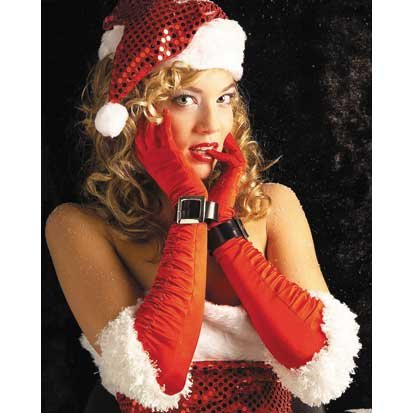Rubie's Women's Satin Miss Santa Gloves Costume, Red/White, One Size ()