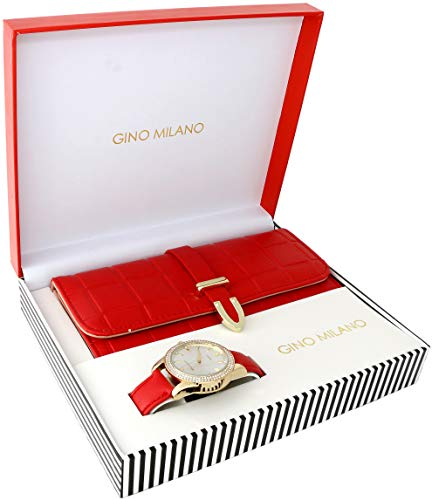 Ladies Wallet Sets with Matching Watch - Red (Milano Ladies Fashion Watch)