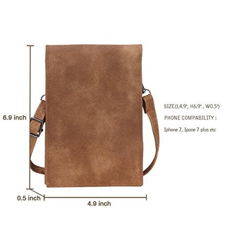 6'' Bag Leather for Strap PU Brown Smartphone Stylish Women Crossbody with Small Bthdhk Shoulder gaqwdCgn