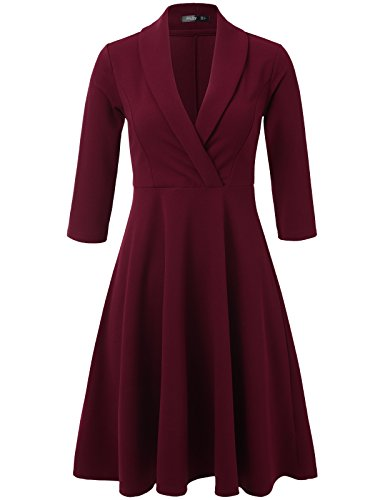 JayJay Neck burgundy V and Flare Fit Swing Party Women Jwdm533qn Dress 3 Sleeve Cocktail 4 with Belt rx0qwnrpU8