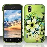Rubberized Design Cover compatible with LG Marquee LS855, Hawaiian Flowers
