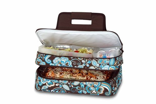 level Thermal Insulated Hot and Cold Pot Luck Food Carrier with Bonus Containers by Picnic Plus Cocoa Cosmos ()